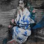 Femme en habit traditionnel Peinture murale Seoul Coree du sud